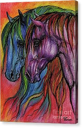 Crazy Horse Canvas Print - Rainbow Horses by Angel  Tarantella