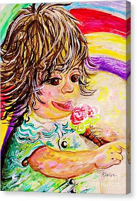 Rainbow Ice Cream Canvas Print by Eloise Schneider