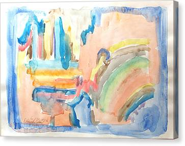 Canvas Print featuring the painting Rainbow In A Box by Esther Newman-Cohen