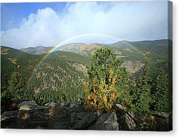 Canvas Print featuring the photograph Rainbow In Mountains by Harold Rau