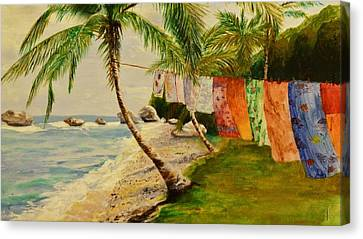 Rainbow In The Breeze Canvas Print by Barbara Ebeling