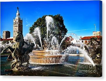 Rainbow In The Jc Nichols Memorial Fountain Canvas Print