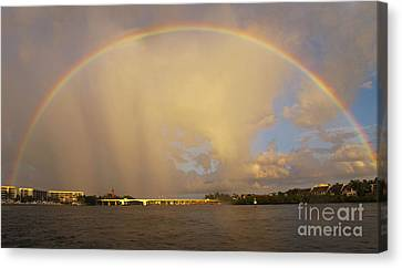 Rainbow Jupiter Inlet Canvas Print by Bruce Bain