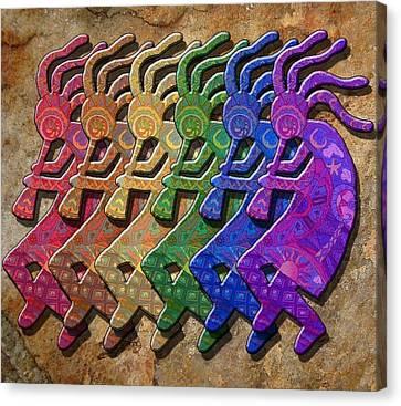 Rainbow Kokopellis Canvas Print by Megan Walsh