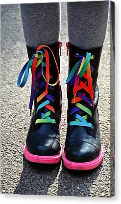 Rainbow Laces Canvas Print by Marianna Mills