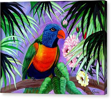 Canvas Print featuring the painting Rainbow Lorikeets. by Fram Cama