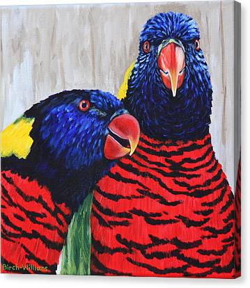 Rainbow Lorikeets Canvas Print by Penny Birch-Williams