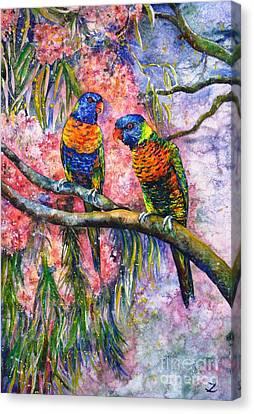 Rainbow Lorikeets Canvas Print by Zaira Dzhaubaeva