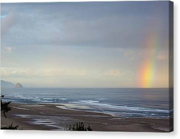 Rainbow On My Beautiful Beach Canvas Print by Angi Parks