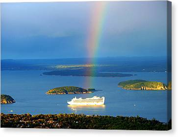 Rainbow On The Ship In Acadia National Park Maine Canvas Print by Paul Ge