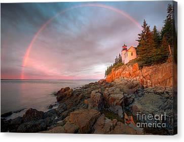 Rainbow Over Bass Harbor Head Light I Canvas Print by Clarence Holmes
