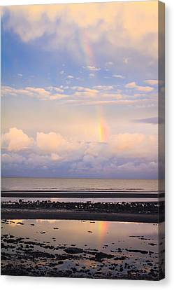 Canvas Print featuring the photograph Rainbow Over Bramble Bay by Peta Thames