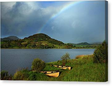 Rainbow Over Doon Lough, County Canvas Print by George Munday