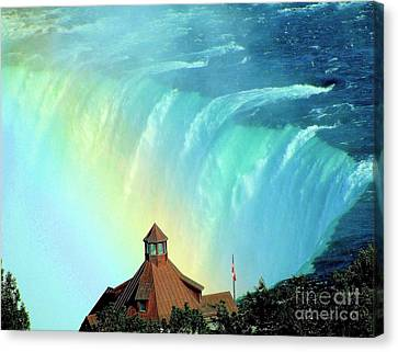 Canvas Print featuring the photograph Rainbow Over Horseshoe Falls by Janette Boyd