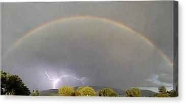 Rainbow Over Lightening Canvas Print