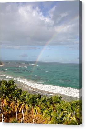 Rainbow Over Palms Canvas Print by The Art of Alice Terrill