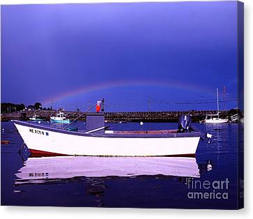Rainbow Over The Cribstone Canvas Print by Donnie Freeman