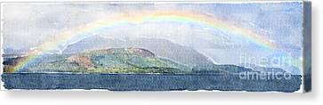 Rainbow Over The Isle Of Arran Canvas Print by Liz Leyden