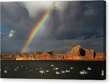 Rainbow Over Wahweap Marina, Lake Canvas Print by Michel Hersen