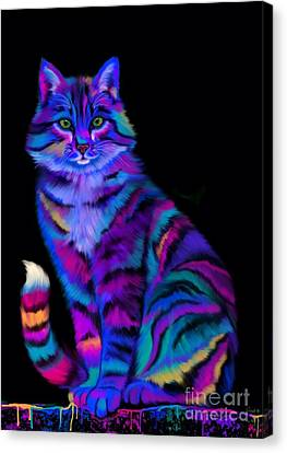 Rainbow Painted Tiger Cat Canvas Print by Nick Gustafson