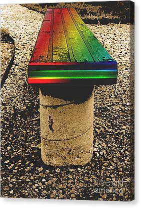 Rainbow Park Bench Canvas Print by ImagesAsArt Photos And Graphics
