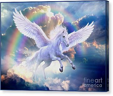 Jumping Horse Canvas Print - Rainbow Pegasus by Jan Patrik Krasny