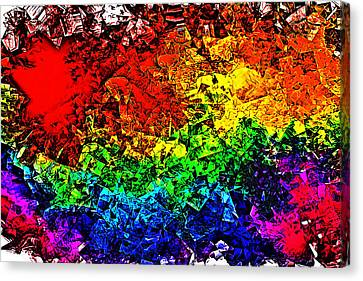 Canvas Print featuring the digital art Rainbow Pieces by Bartz Johnson