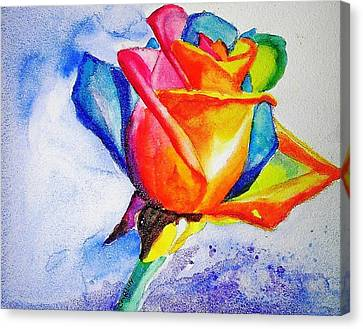 Rainbow Rose Canvas Print by Carlin Blahnik