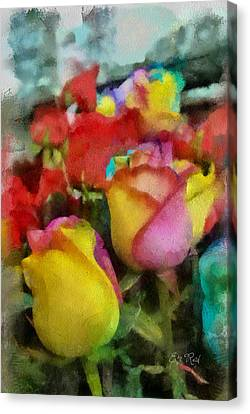 Rainbow Roses Watercolor Digital Painting Canvas Print by Eti Reid
