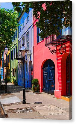 South Carolina Canvas Print - Rainbow Row Charleston by Skip Willits