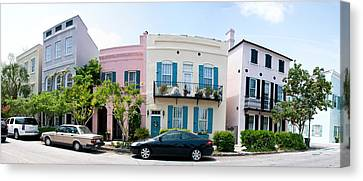 East Bay Canvas Print - Rainbow Row Colorful Houses by Panoramic Images