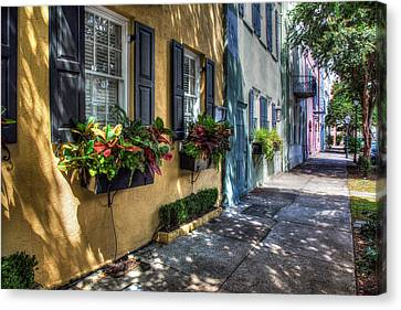 Rainbow Row Canvas Print by John Hoey
