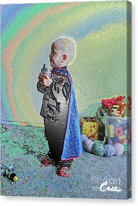 Rainbow Sherbet Little Ninja Boy Canvas Print by Feile Case