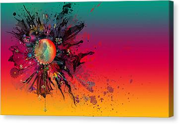 Rainbow Space Clock Canvas Print