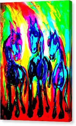 The Rainbow Stallions Don't Wanna Be Race Horses  Canvas Print by Hilde Widerberg