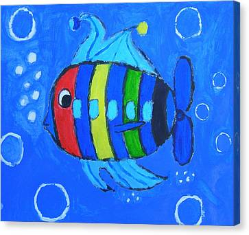 Rainbow Submarine Fish Canvas Print by Artists With Autism Inc