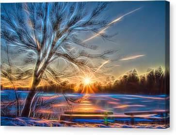 Rainbow Sunset On Snow Covered Lake Canvas Print
