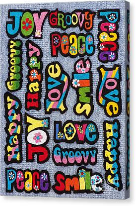 Rainbow Text Canvas Print by Tim Gainey