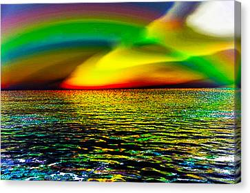 Rainbow Thunder      Enhanced Version Canvas Print by Rebecca Phillips