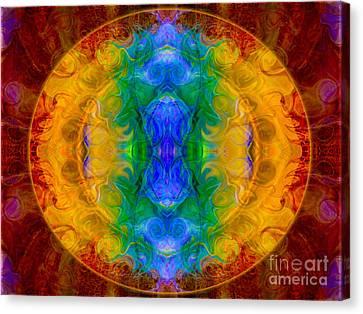 A Rainbow Of Chaos Abstract Mandala Artwork By Omaste Witkowski Canvas Print by Omaste Witkowski