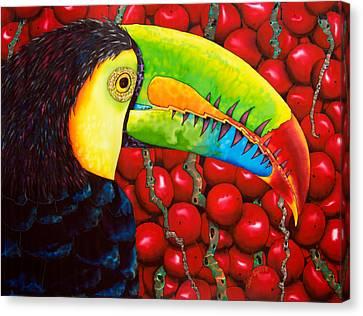 Rainbow Toucan Canvas Print by Daniel Jean-Baptiste