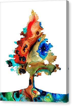 Rainbow Tree 2 - Colorful Abstract Tree Landscape Art Canvas Print by Sharon Cummings