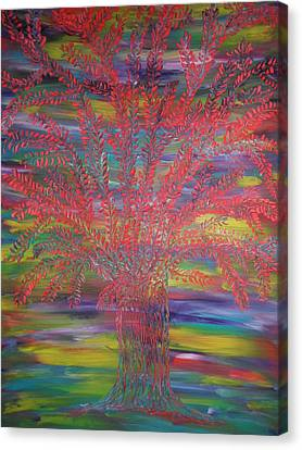 Canvas Print featuring the painting Rainbow Tree by Nico Bielow
