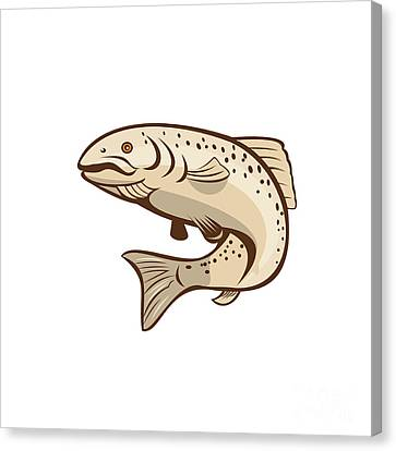 Rainbow Trout Jumping Cartoon  Canvas Print by Aloysius Patrimonio