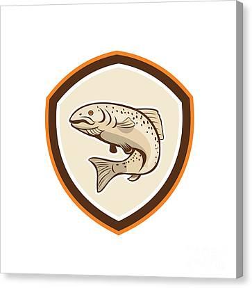 Rainbow Trout Jumping Cartoon Shield Canvas Print by Aloysius Patrimonio