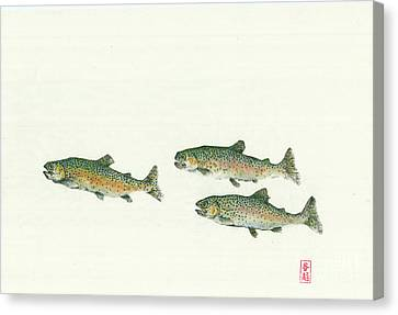 Rainbow Trout School Gyotaku Canvas Print by Julia Tinker