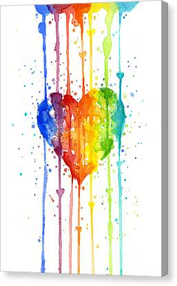 Rainbow Watercolor Heart Canvas Print by Olga Shvartsur