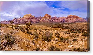 Rainbow Wilderness Panorama At Red Rock Canyon Before Sunrise - Las Vegas Nevada Canvas Print