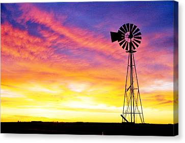Rainbow Windmill Canvas Print by Shirley Heier