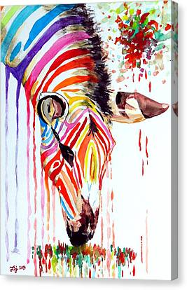 Rainbow Zebra Canvas Print by Daniel Janda